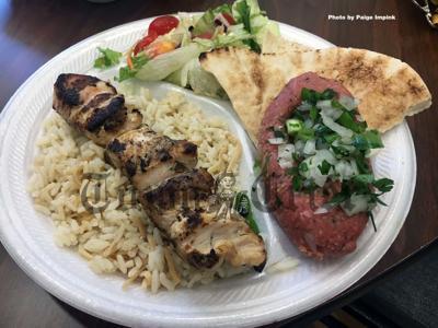 Shish kebab, pilaf and kheyma