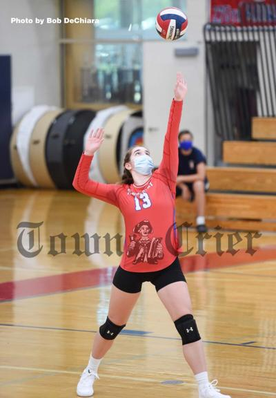 Vanessa Green serves one up for the TMHS Volleyball team