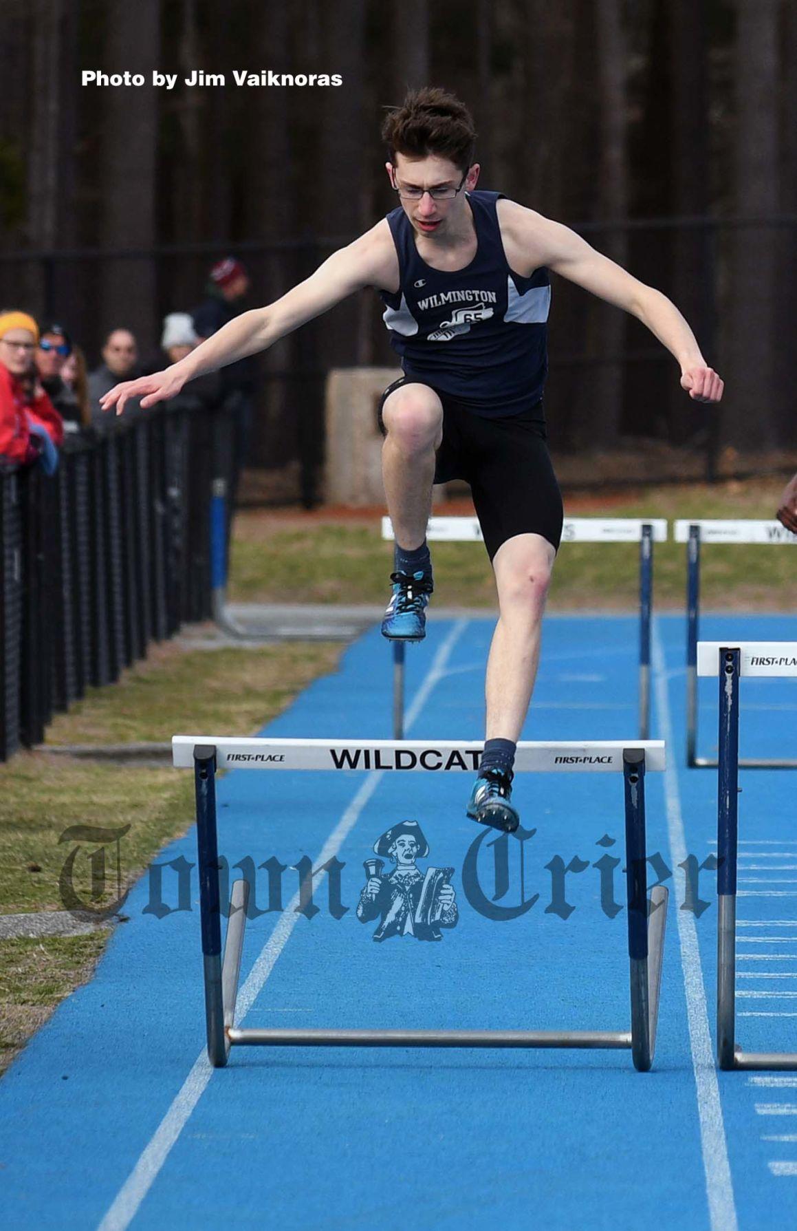 Kevin Elderd competes in the 400-meter hurdles