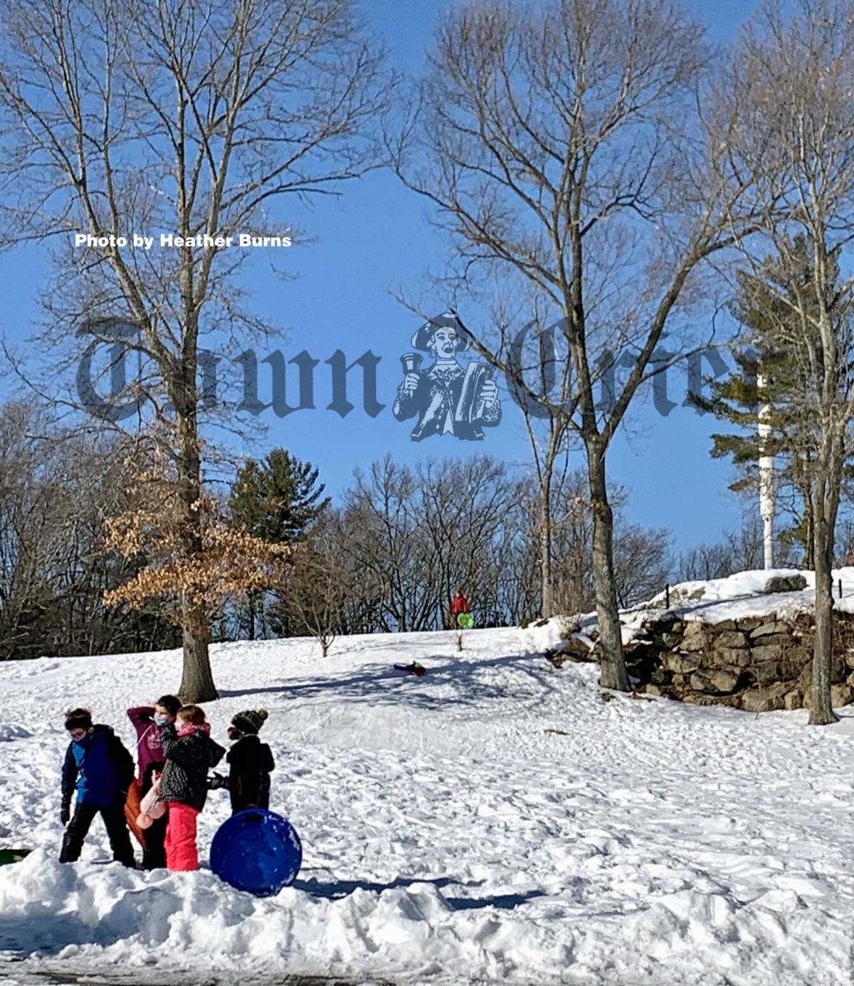 Sledding at Trull Brook Golf Course in Tewksbury