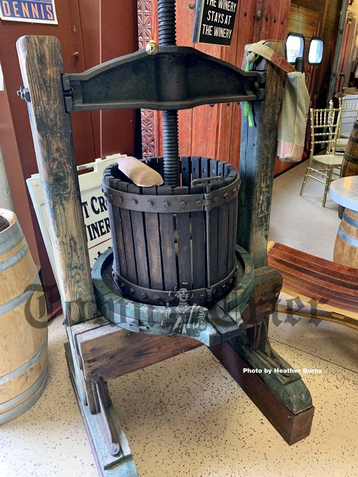 An antique wine making device at the First Crush Winery