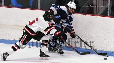 Reading's Jake Donovan looks to steal the puck from Wilmington's Matt Pendenza