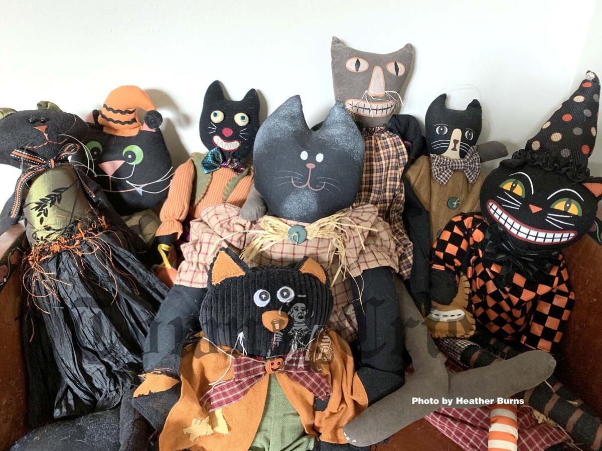 Vintage black cat dolls and figures