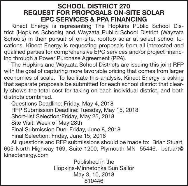 Solar RFP | Advertisement For Bids & Proposals | hometownsource com