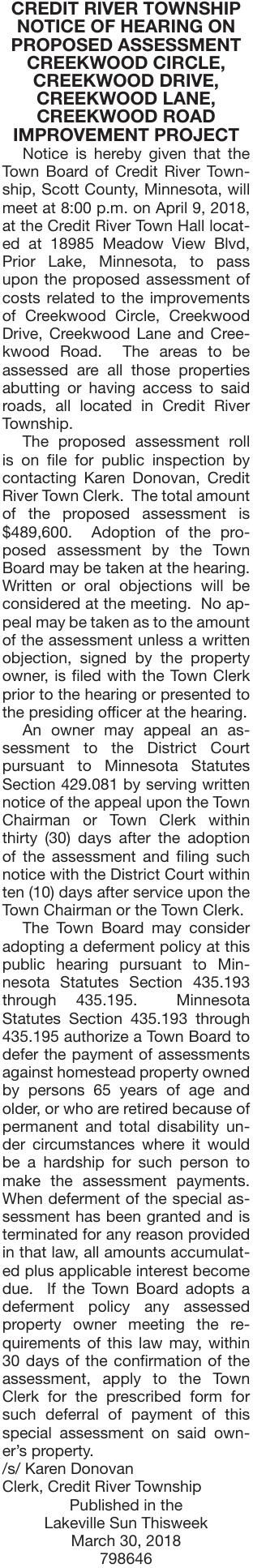 Proposed Assessment Creekwood Notice Of Public Hearing