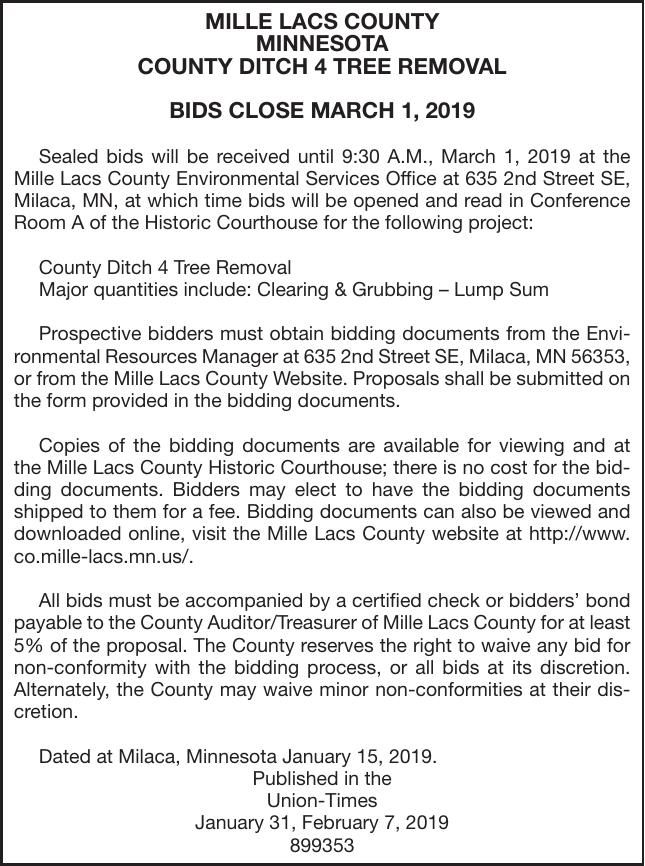 County Ditch 4 Tree removal BIDS