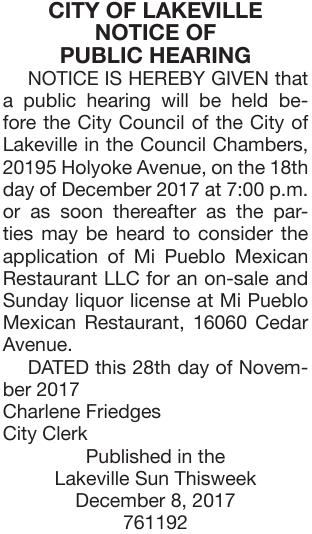 Mi Pueblo Liquor Ph Notice Of Public Hearing Hometownsource Com