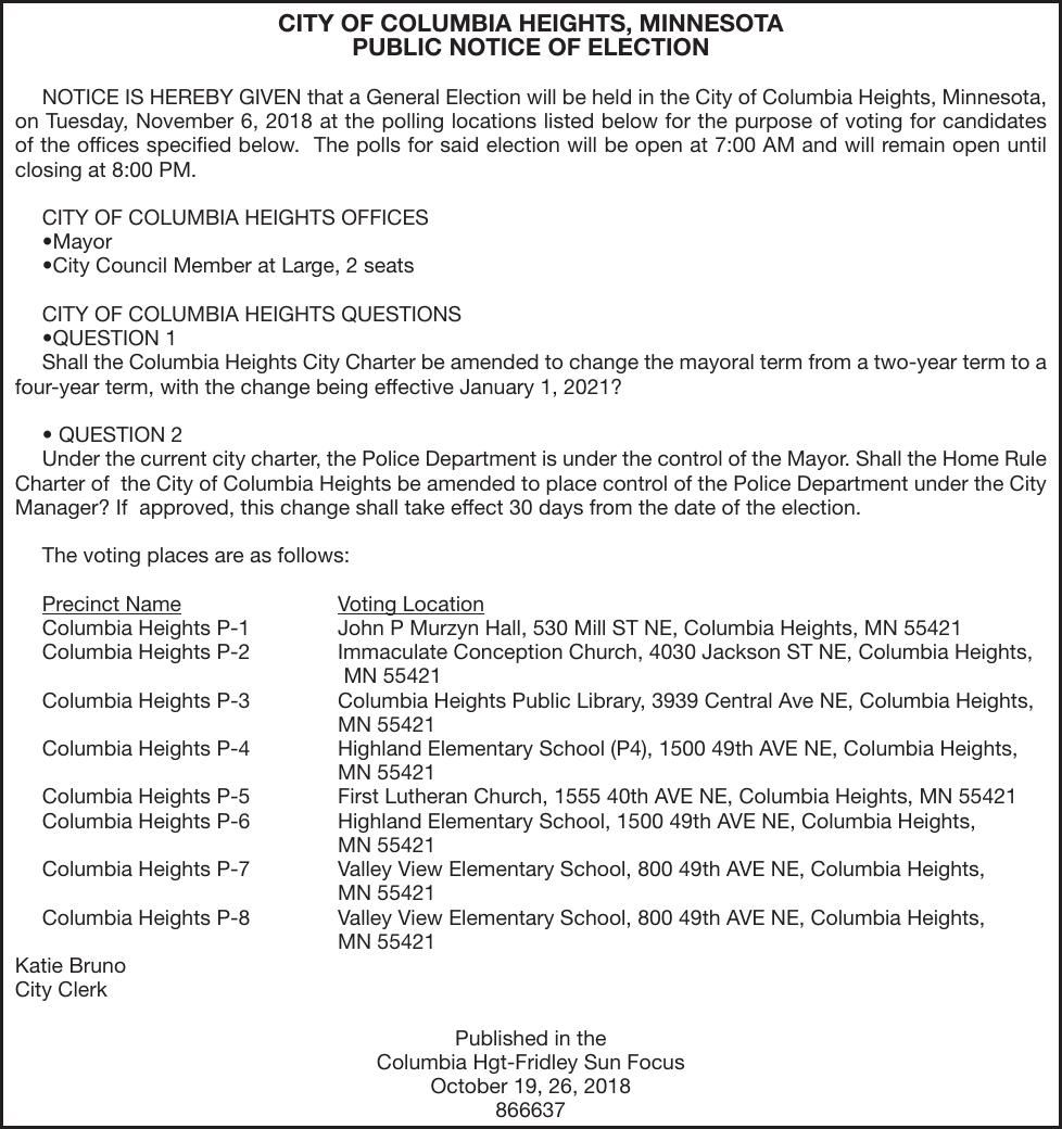 De S For Election Notice Oct 19 2018 City Of Columbia Heights