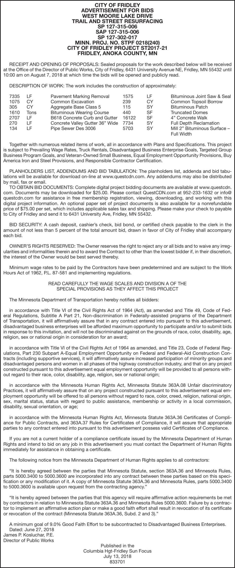 Street Resurfacing-BIDS No  ST2017-21 | Advertisement For