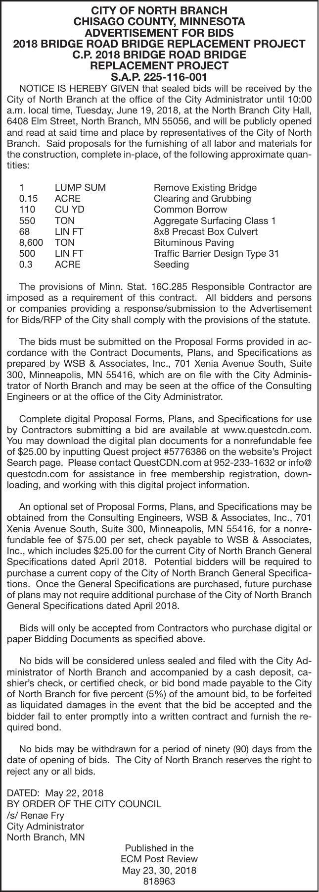 Bridge Road Bridge Replacement | Advertisement For Bids & Proposals