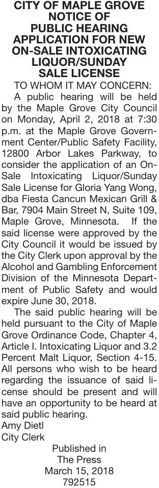 Fiesta Cancun-PH | Notice Of Public Hearing | hometownsource com