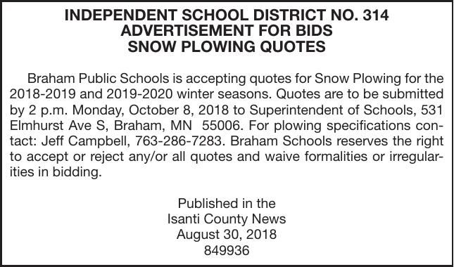 snow plowing bids advertisement for bids proposals