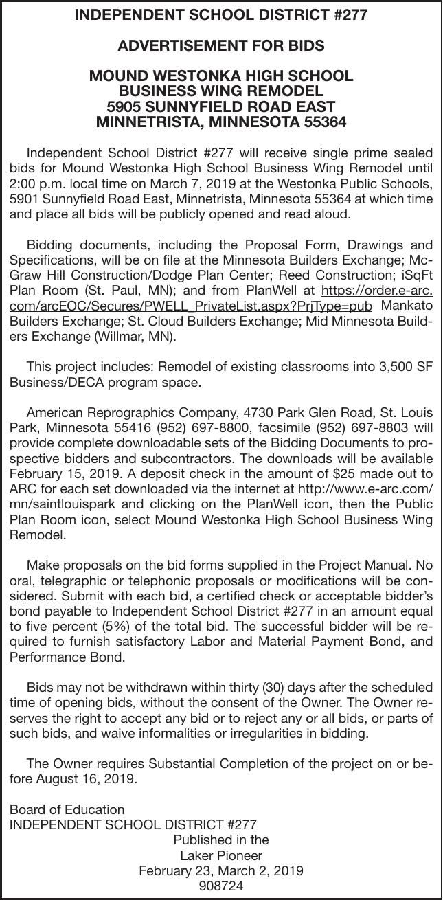 BUSINESS WING REMODEL   Advertisement For Bids & Proposals