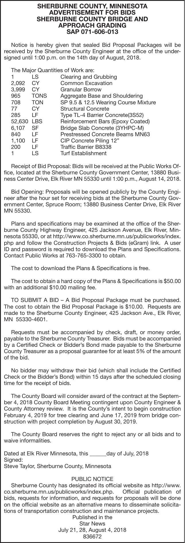 bridge and approach grading bids county