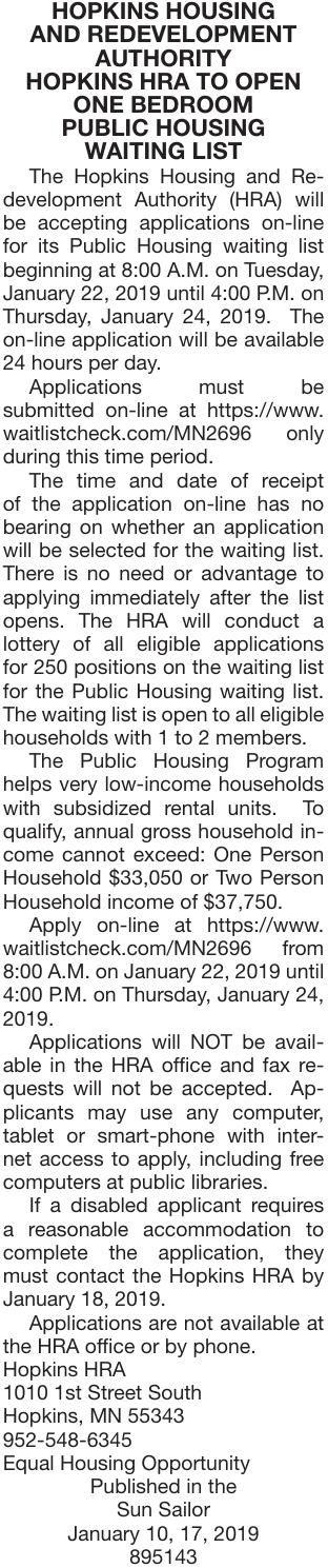 Public Housing Waiting List | Public Notices