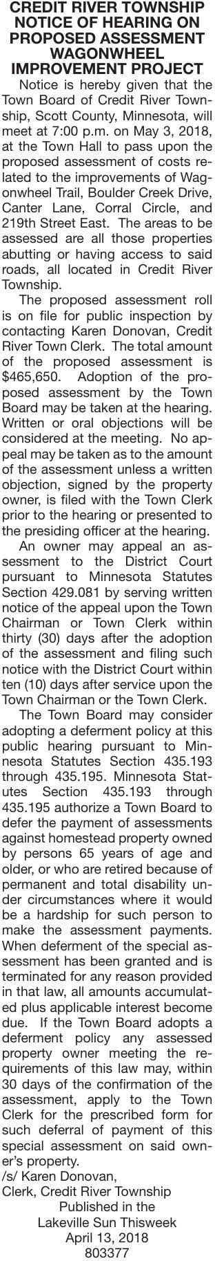 Proposed Assessment Wagon Wheel Notice Of Public Hearing