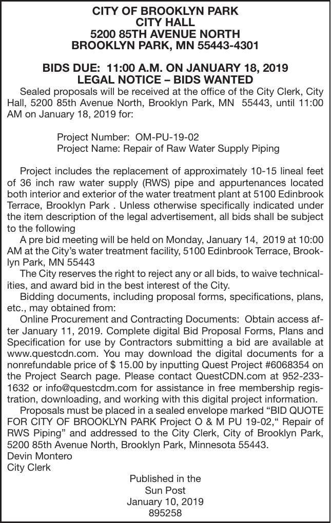 Repair Water Piping Bids Advertisement For Bids Proposals