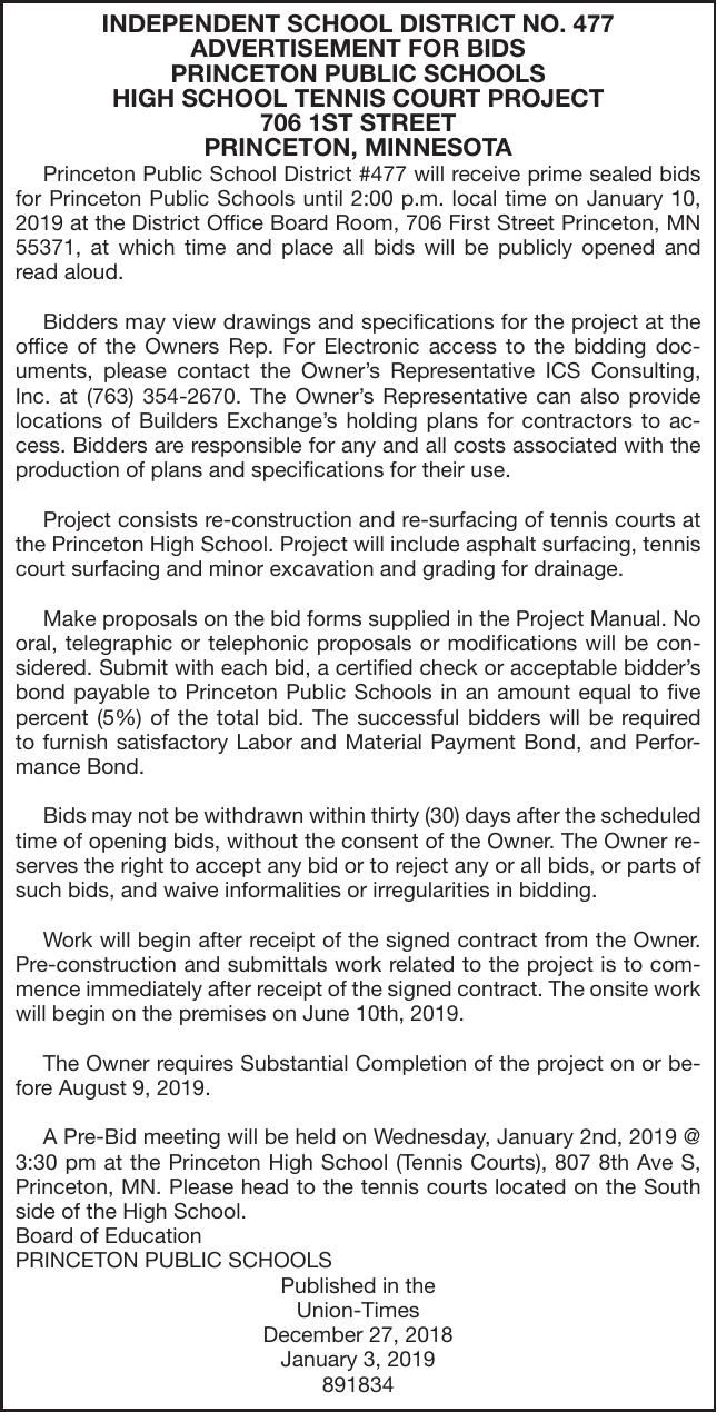 Tennis Court Bids Advertisement For Bids Proposals