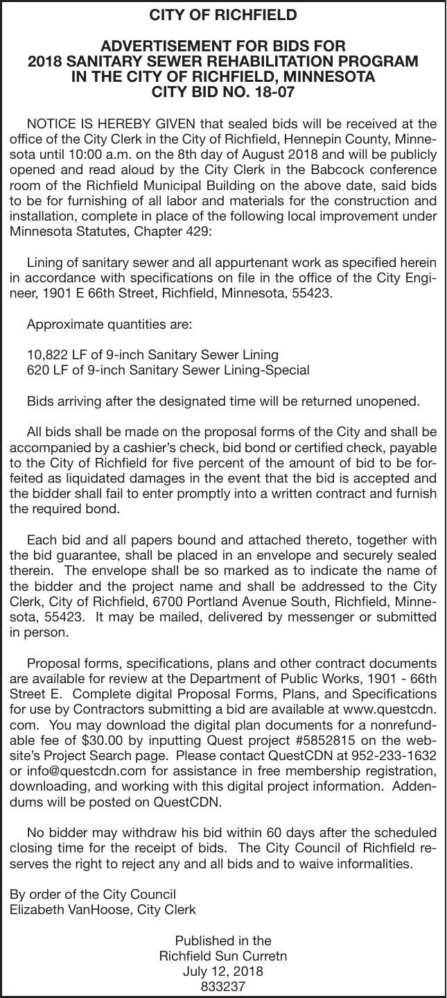 Sanitary Sewer Rehab Bids Project 18 0 Advertisement For Bids