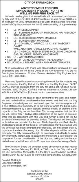 Improvement Project 18 03 Advertisement For Bids Proposals Hometownsource Com