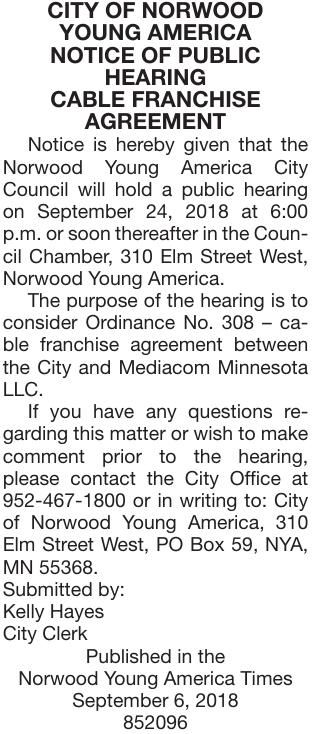Cable Franchise Agreement Ph Notice Of Public Hearing