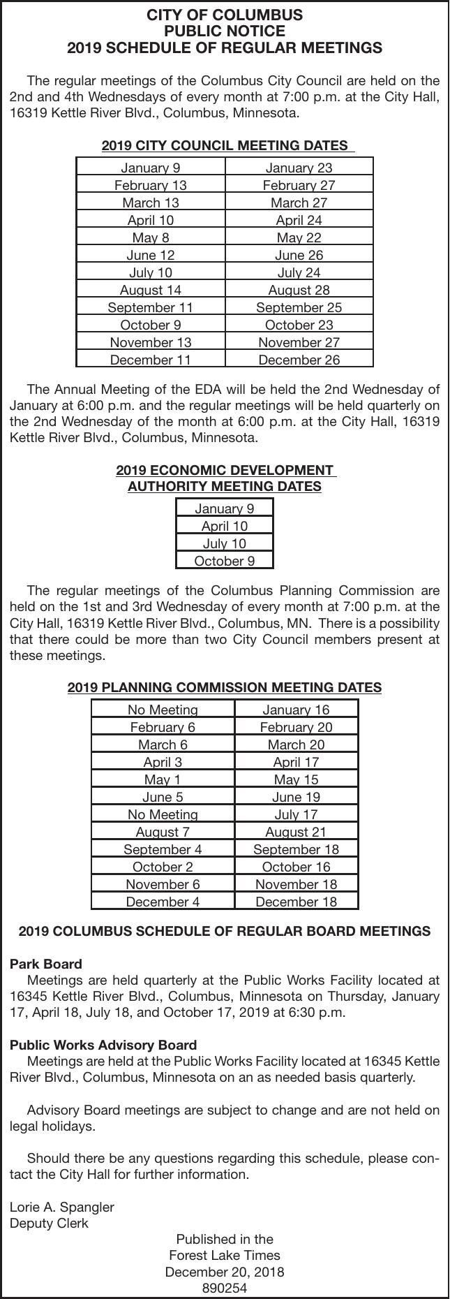 e46e0a449ad0 Details for 2019 Schedule of Regular Meetings. Dec 20
