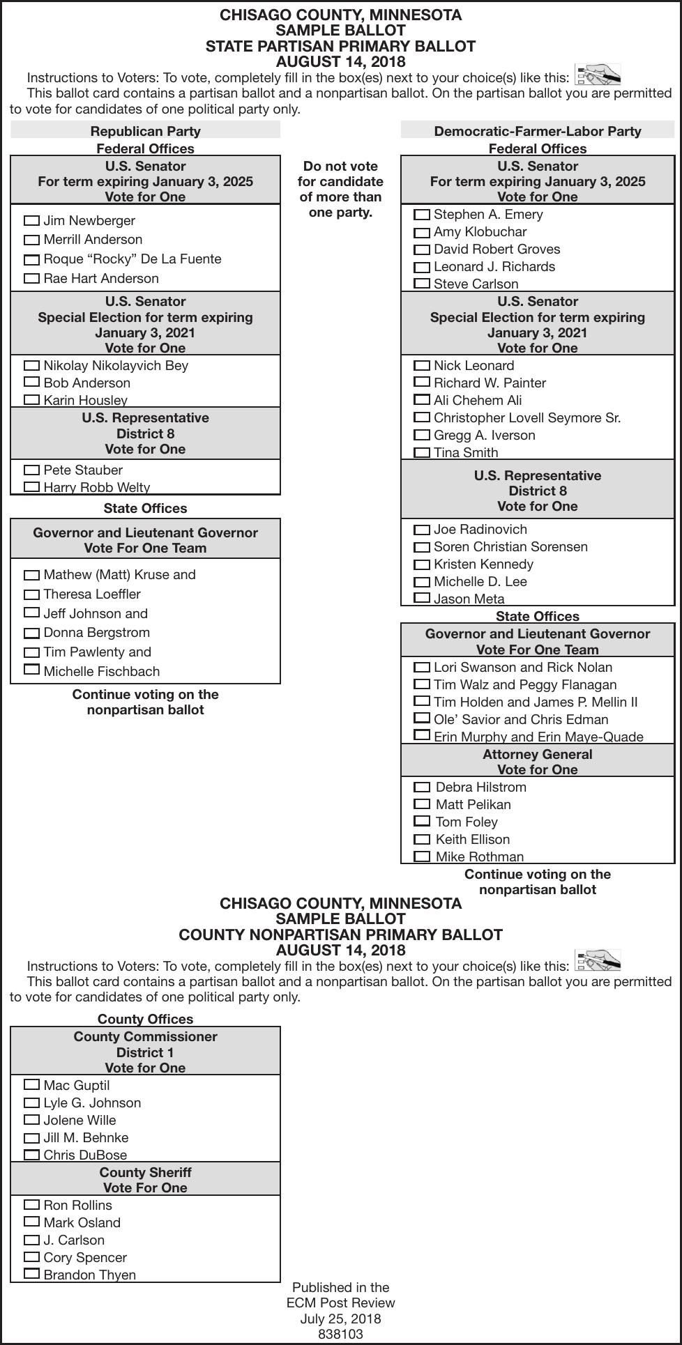 Sample ballot for 2012 duluth primary perfect duluth day.