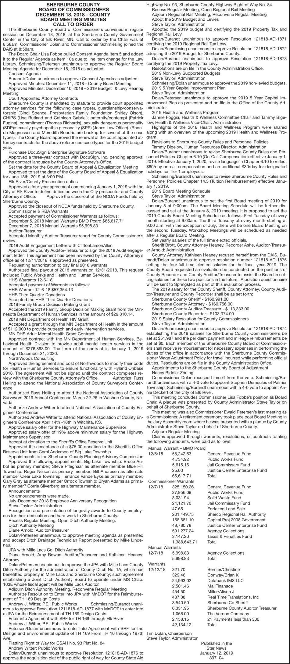 December 18 Minutes-Warrants | County | hometownsource com