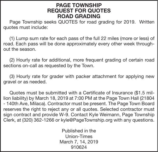 Road Grading Bids Advertisement For Bids Proposals