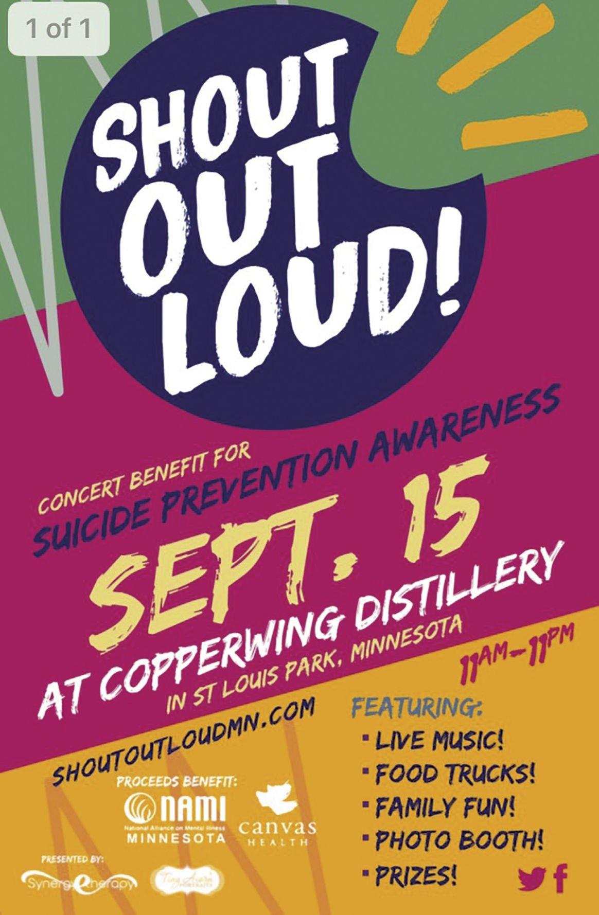 Conversation leads to Sept. 15 Shout Out Loud suicide prevention event in St. Louis Park - 2