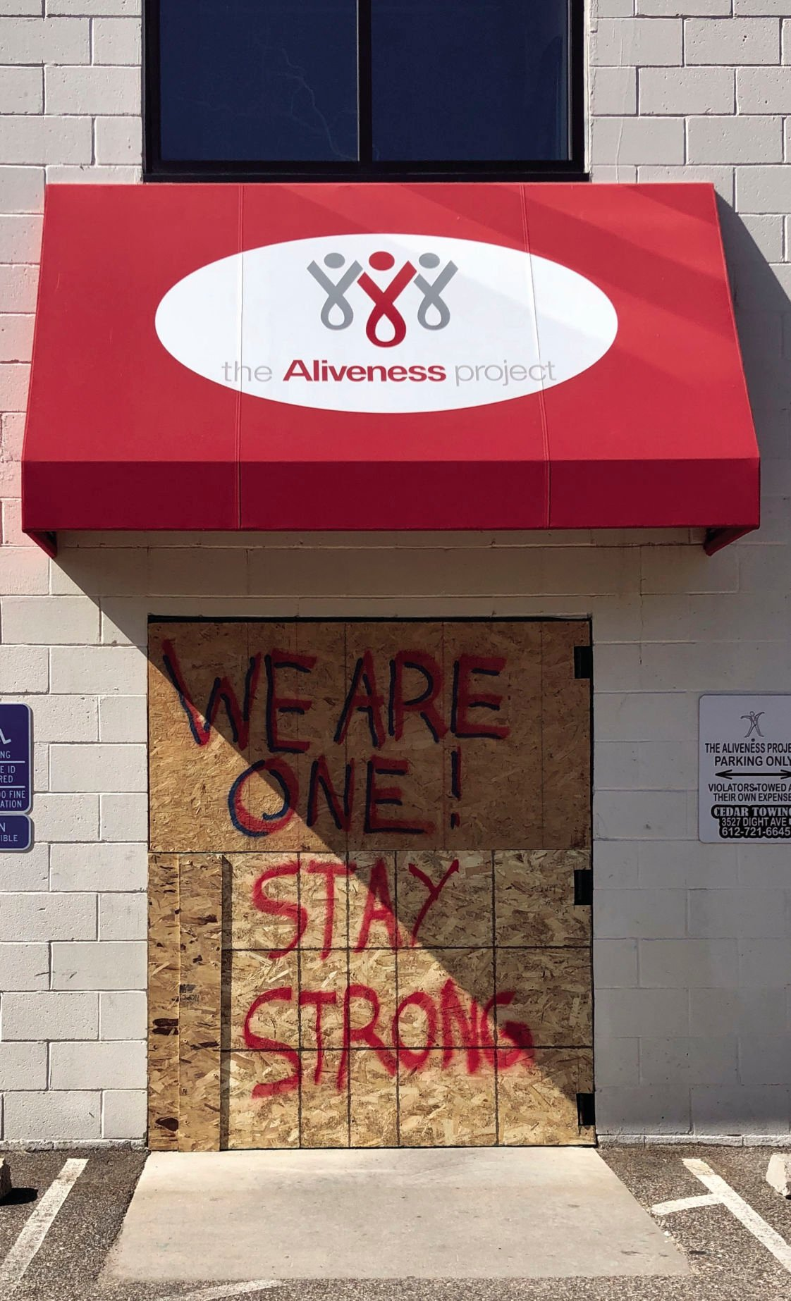 The Aliveness Project, boarded up