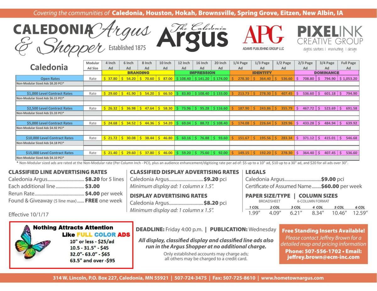 Caledonia Rate Sheet