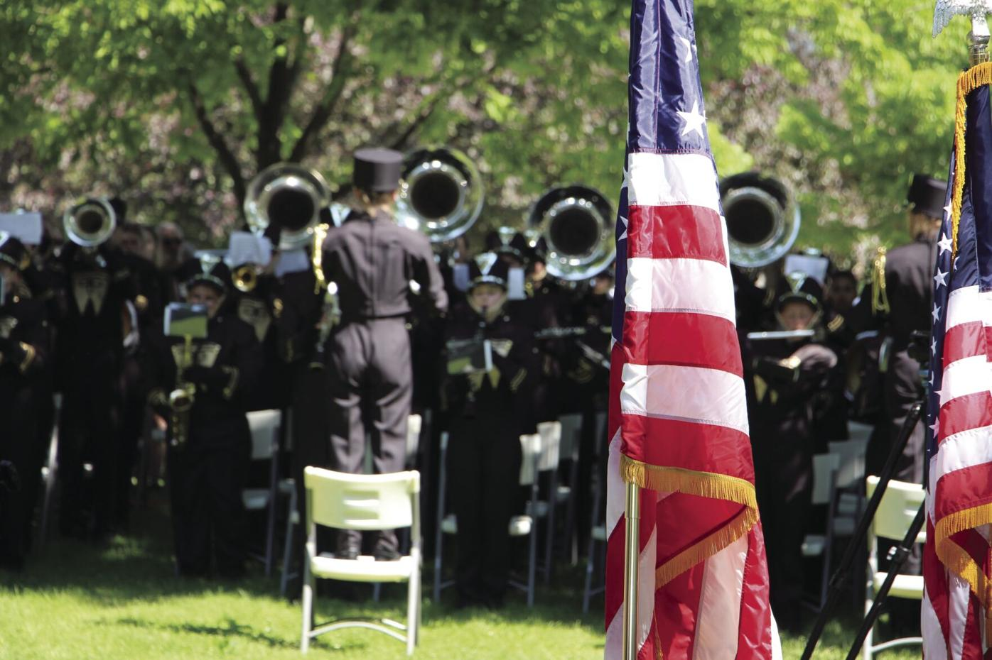 Memorial 2021 band and flags.JPG