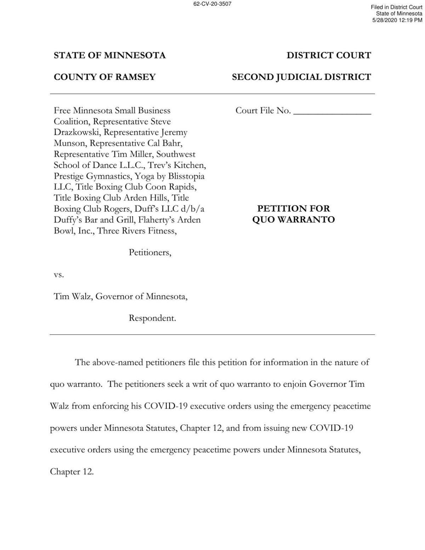 Walz COVID lawsuit petition