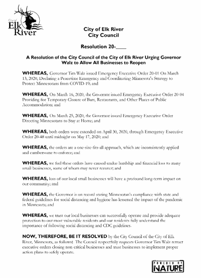 Elk River City Council passes resolution urging Gov. Walz to retract executive order