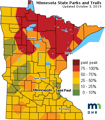 Fall color rapidly progressing in southern Minnesota, metro area