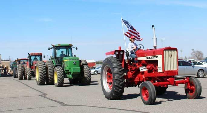 Tractors in line