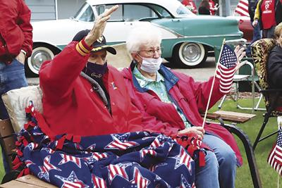 Two-toned Oldsmobile, well-wishes make old Marine's day