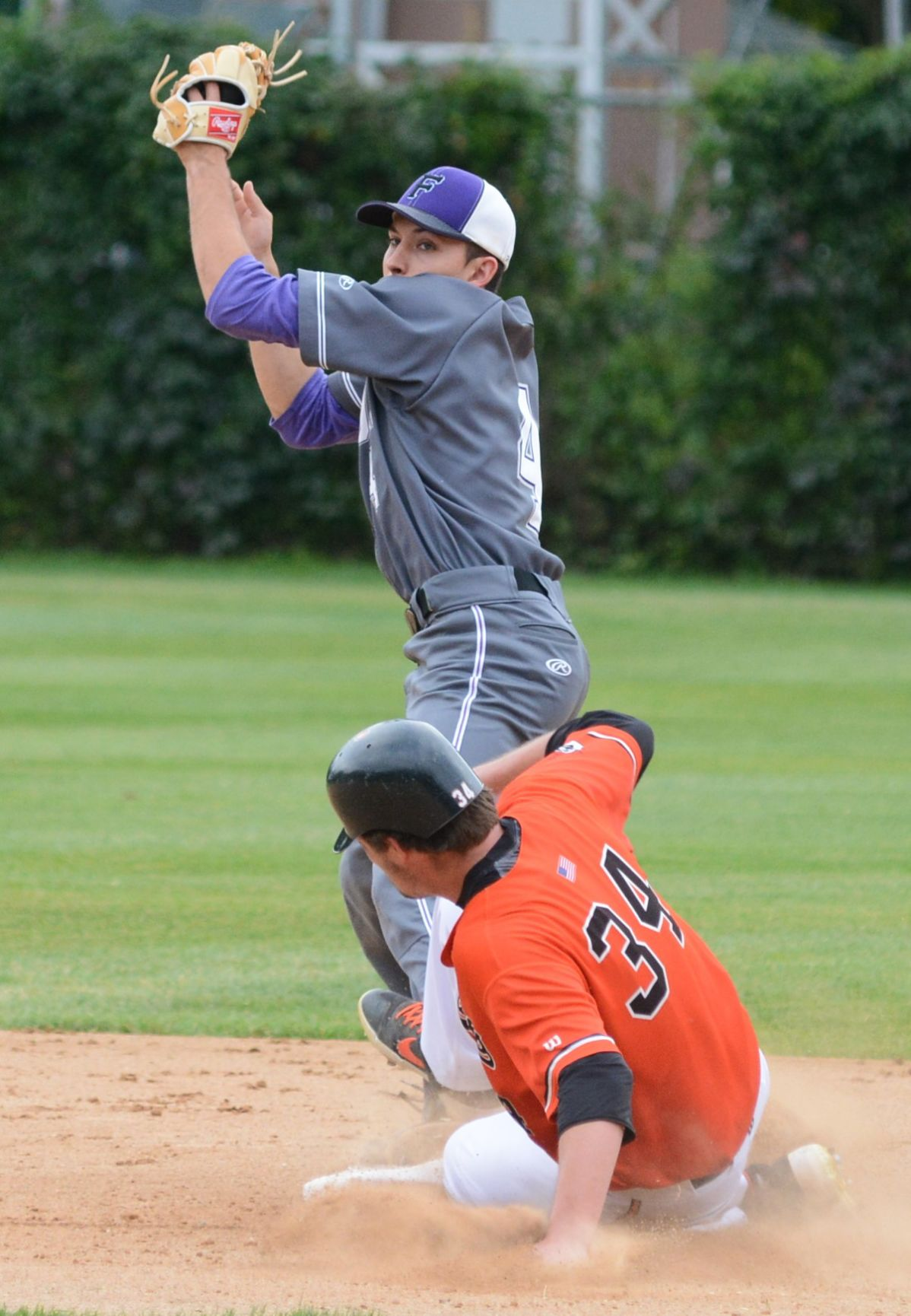 SP Blaine Fusion Marcus Riewer tries to complete the double play at 2nd.jpg