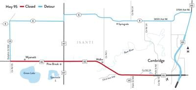 Hwy 95 Detour Map: Isanti Co. Rd. 15 to west of Cambridge