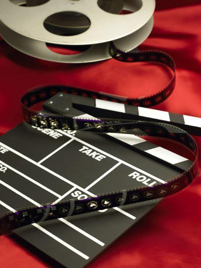 movie reel clapboard