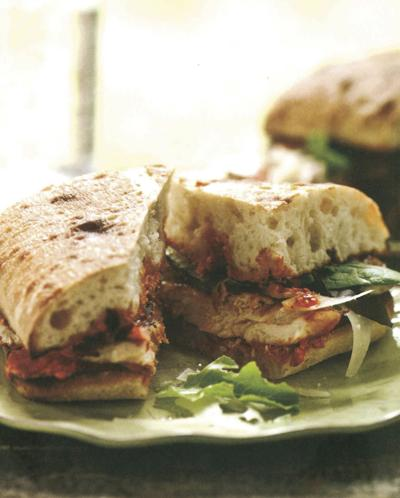 Grilled Chicken Ciabatta with Romesco and Baby Greens