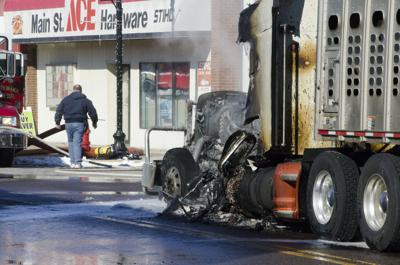 Semi-truck fire closes portion of North Branch Main Street