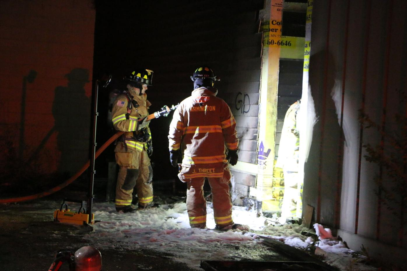 Exterior fire origin between two buildings owned by Farmington Pizza Man