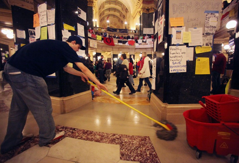 Capitol protests - cleaning up