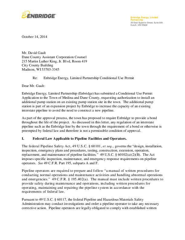 Oct. 14 letter from Enbridge on bonding