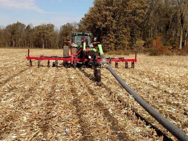 Manure dragline in corn stubble