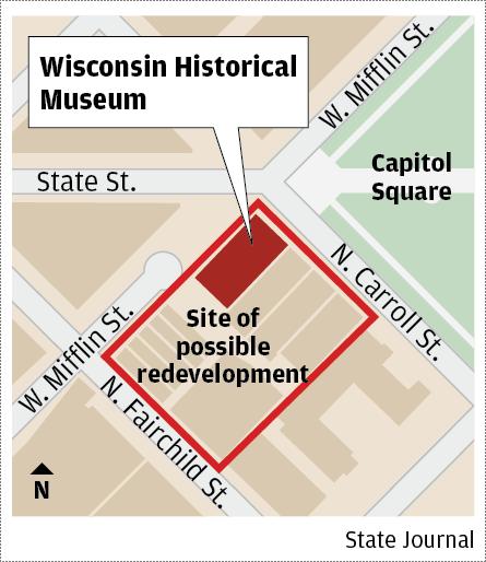 Wisconsin history museum redevelopment map