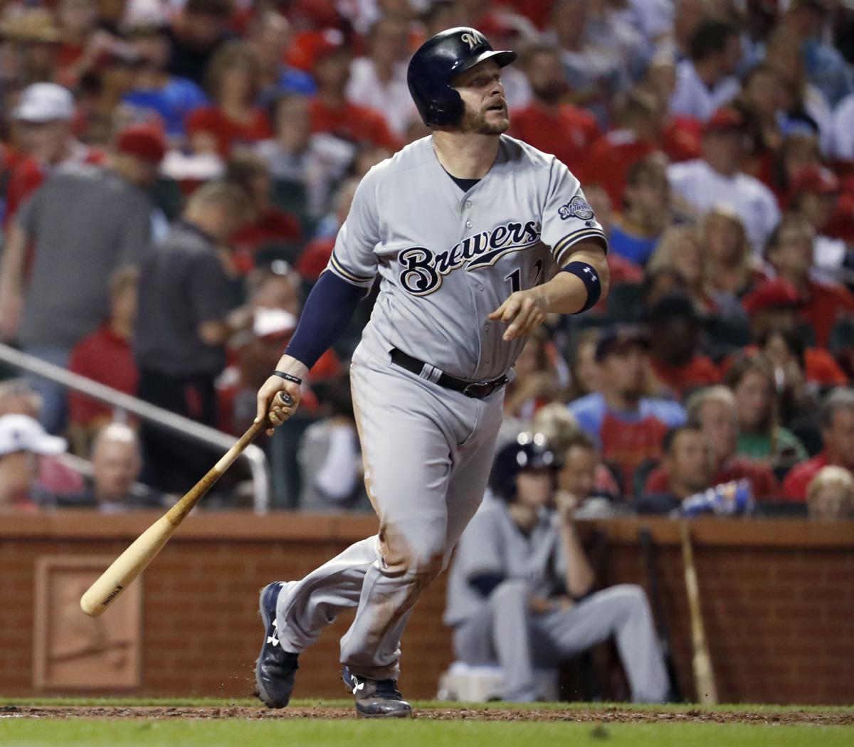 Stephen Vogt hitting, too vertical, AP photo
