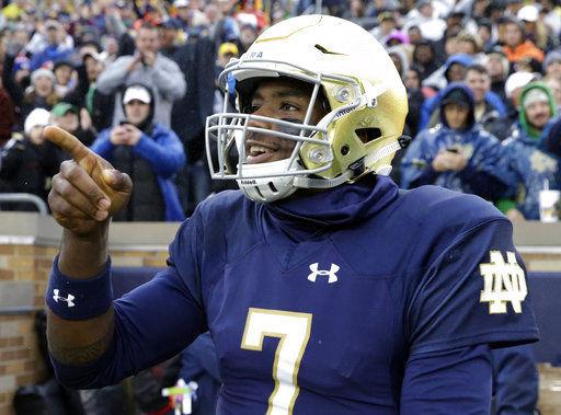 Notre Dame QB Brandon Wimbush, AP photo